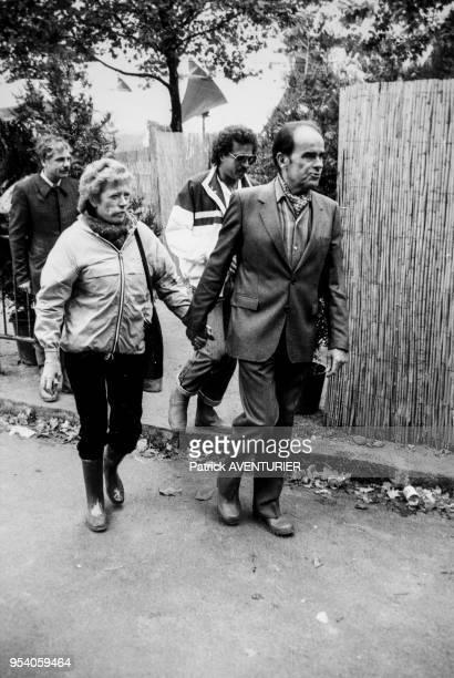 Portrait de Liliane et de Georges Marchais à la Fête de l'Humanité le 11 septembre 1983 à La Courneuve France