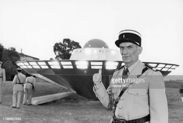 Portrait de Louis de Funès sur le tournage du film 'Le Gendarme et les Extraterrestres' de Jean Girault à SaintTropez le 2 octobre 1978 France