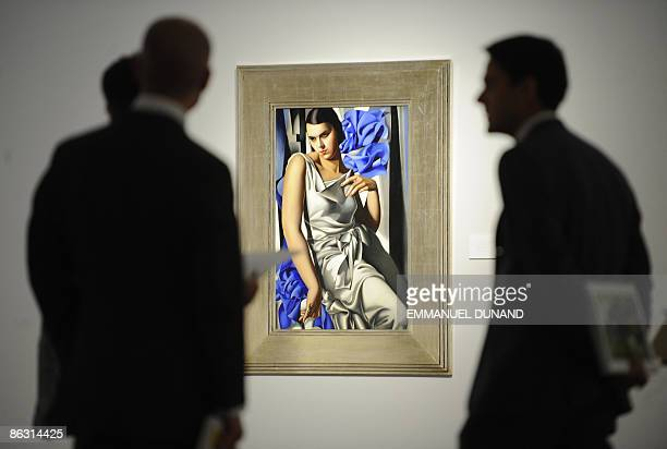 Portrait de Madam M by artist Tamara de Lempicka is on displays at Christie's during a press preview of their Impressionist and Modern Art Evening...