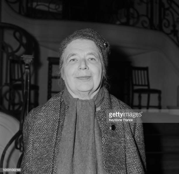 Portrait de Marguerite Yourcenar lauréate du Prix Femina à Paris France le 25 novembre 1968