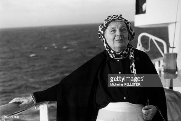 Portrait de Marguerite Yourcenar sur un paquebot dans la Mer des Caraïbes le 8 mars 1980