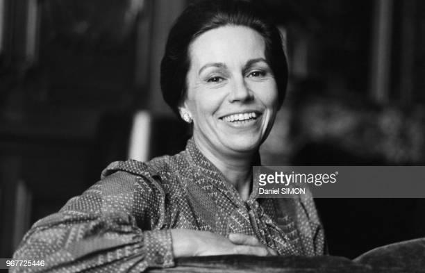 Portrait de MarieFrance Garaud candidate aux Présidentielles le 25 octobre 1980 Paris France