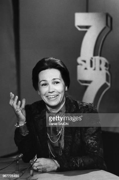 Portrait de MarieFrance Garaud à l'émission 7/7 sur TF1 le 13 mai 1984 Paris France