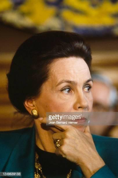 """Portrait de Marie-France Garaud lors de la conférence de presse pour la sortie de son livre """"De l'Europe en général et de la France en particulier"""""""