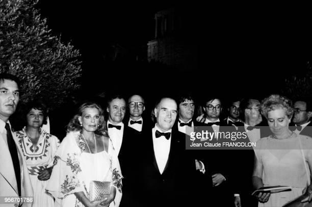 Portrait de Melina Mercouri François Mitterrand et de Jack Lang lors d'un voyage officiel du président français en Grèce le 3 septembre 1982 à...