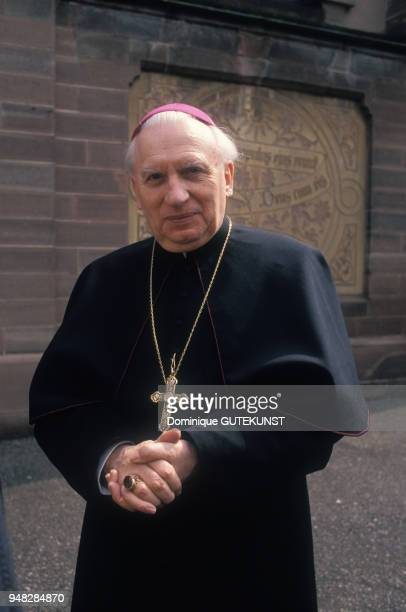 Portrait de Mgr CharlesAmarin Brandt archevêque de Strasbourg en avril 1989 en France