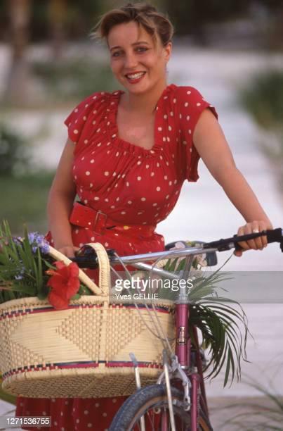 Portrait de Pauline Lafont en avril 1988 aux Bahamas.
