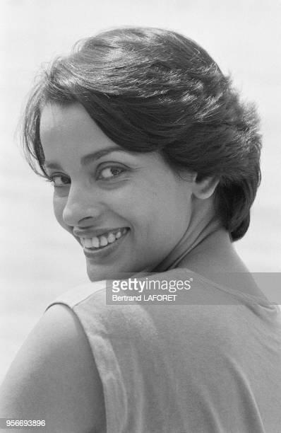Portrait de Persis Khambatta Miss Inde 1965 lors du Festival de Cannes le mai 1980 cannes France