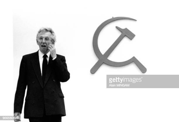 Portrait de Roland Leroy lors d'un congrès du Parti Communiste Français le 7 février 1982 à SaintOuen France