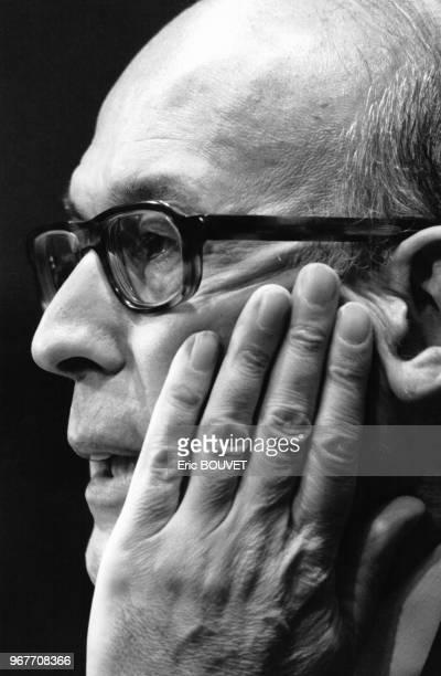 Portrait de Valéry Giscard d'Estaing invité au Club de la Presse RTL le 25 mars 1984 à Paris France