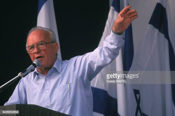 Portrait de Yitzhak Rabin en campagne électorale en mai 1992 à Jérusalem, Israël.