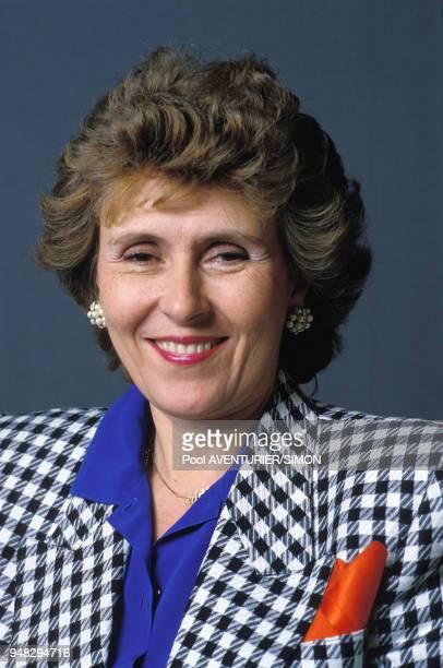 Portrait d'Edith Cresson lors du congrès du Parti socialiste à Lille le 5 avril 1987 France