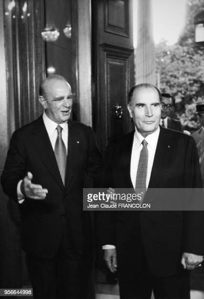Portrait des présidents grec Konstantinos Caramanlis et français François Mitterrand le 1er septembre 1982 à Athènes Grèce