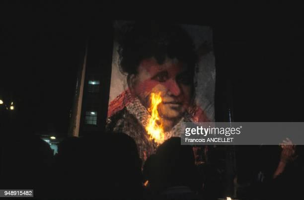 Portrait d'Isabelle du Brésil brûlé lors de la fête de l'abolition de l'esclavage à Salvador de Bahia en mai 1988 Brésil