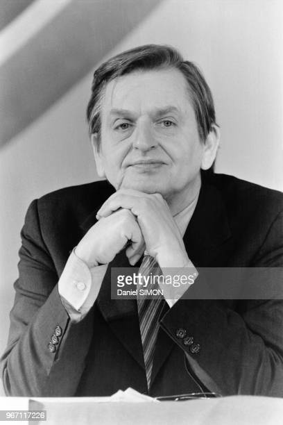 Portrait d'Olof Palme Premier ministre suédois le 23 janvier 1983 à Paris France