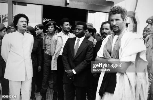 Portrait du dirigeant libyen Mouammar Khadafi du président du Ghana Jerry Rawlings et du dirigeant mauritanien Mohamed Khouna Haidalla circa 1980