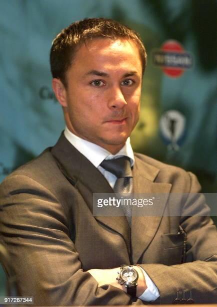 portrait du joueur de football anglais Dennis Wise milieu de terrain du Chelsea FC le 12 mai 1998 à Stockholm lors d'une conférence de presse à la...