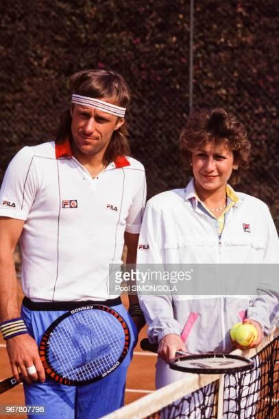 Portrait du joueur de tennis suédois Bjorn Borg et de son épouse Mariana Simionescu lors du tournoi de tennis de Monte-Carlo le 21 avril 1984 à...