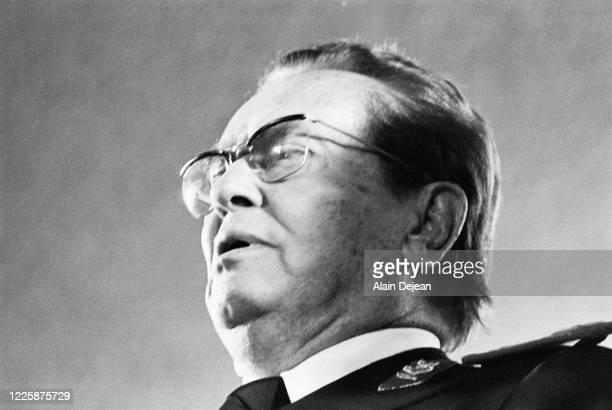 Portrait du Maréchal Tito pour son 85 ème anniversaire au stade de Belgrade en Serbie