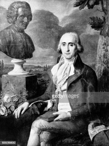 Portrait du marquis RenéLouis de Girardin à côté d'un buste de JeanJacques Rousseau