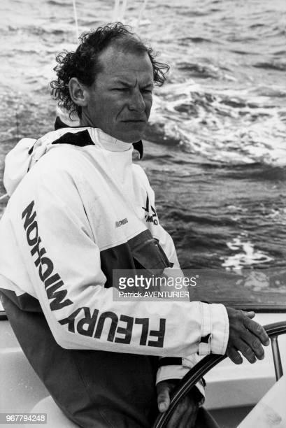 Portrait du navigateur français Philippe Poupon lors du baptême de son trimaran 'Fleury Michon VIII' en présence de Philippe de Villiers le 23 août...