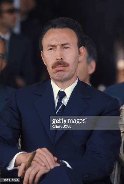 Portrait du Président algérien Houari Boumédiène en 1975 à Alger Algérie