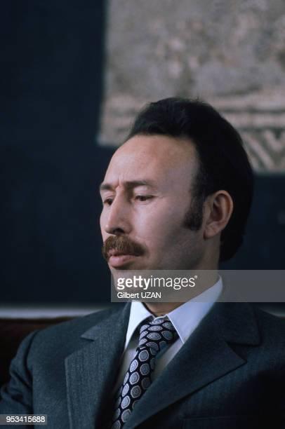 Portrait du président algérien Houari Boumédiène en avril 1975 à Alger Algérie