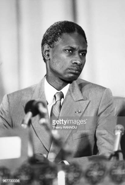 Portrait du président du Sénégal Abdou Diouf lors de la réunion du comité interEtats de lutte contre la sécheresse au Sahel le 31 janvier 1984 à...
