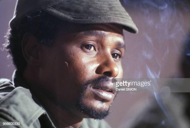 Portrait du président Hissène Habré dans les années 1980 au Tchad.