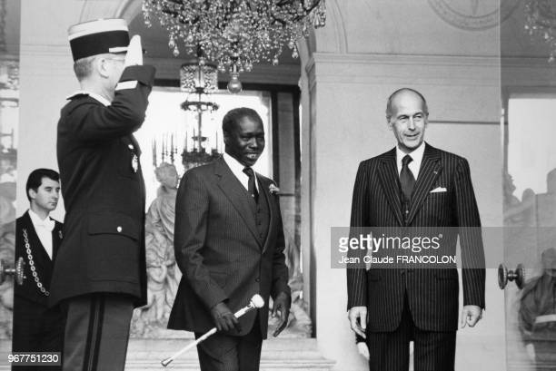Portrait du président kenyan Daniel Arap Moi et du président français Giscard d'Estaing à l'Elysée le 14 novembre 1978 à Paris France