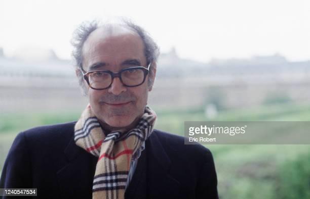 """Portrait du réalisateur Jean-Luc Godard lors de l'annonce de la création du centre de recherches cinéma et vidéo """"Peripheria"""""""