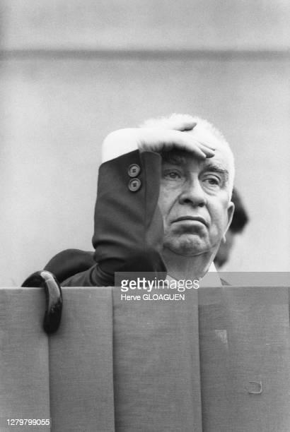 Portrait du secrétaire général du Parti communiste italien Luigi Longo, lors d'un meeting de la campagne des élections générales italiennes de 1976,...