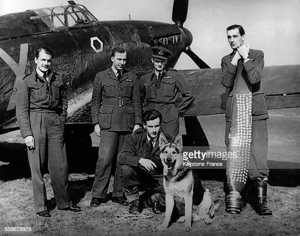 Portrait d'un escadron de pilotes britanniques avec leur mascotte, un berger allemand, et au centre, le chef d'escadrille Peter Townsend au...