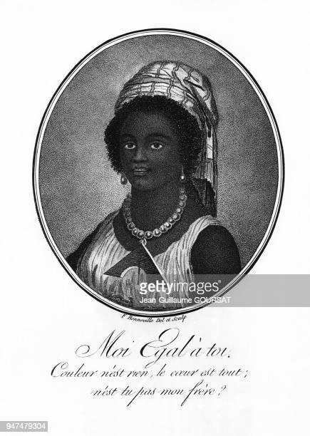 Portrait d'une femme noire accompagné d'un poème revendiquant l'abolisation de l'esclavage pendant la Révolution française