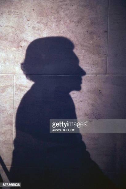 Portrait en ombre portée de Liliane Bettencourt lors de la remise du prix de sa Fondation dédiée au mécénat qui récompense les mêtiers du patrimoine...