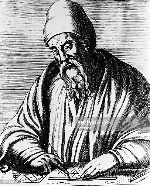 "Portrait, Euclid, ca.300 B.C., Greek geometer, author of ""Elements"". Undated copper engraving."