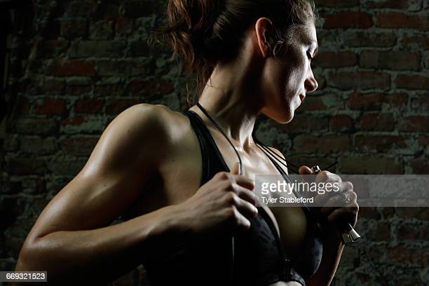 Portrait female boxer athlete