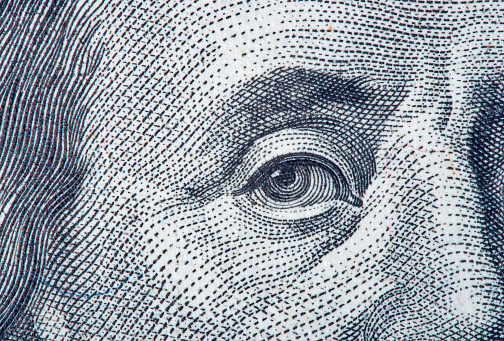 Portrait fragment of Benjamin Franklin 925486348
