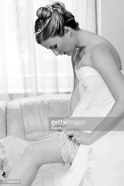 portrait from a bride on wedding day - garter belt stock pictures, royalty-free photos & images