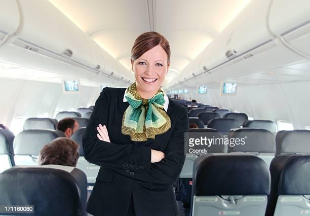 Porträt von einem jungen schönen Flugbegleiterin