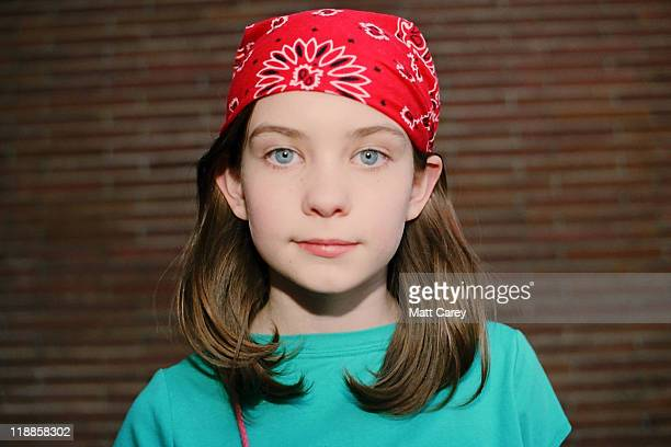 Portrait girl with red bandanna