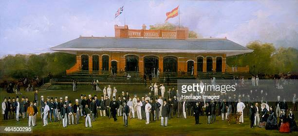 'Portrait Group of Members of the Marylebone Cricket Club outside the Pavilion at Lord's' c1870 Ninety members of the club are depicted at London's...