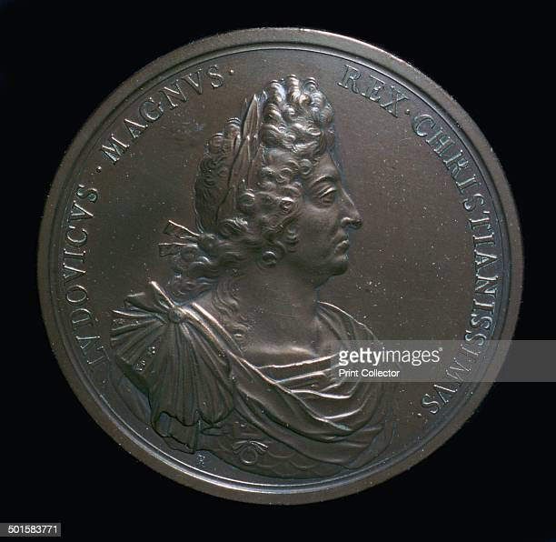 Portrait head on a medal of Louis XIV 17th century