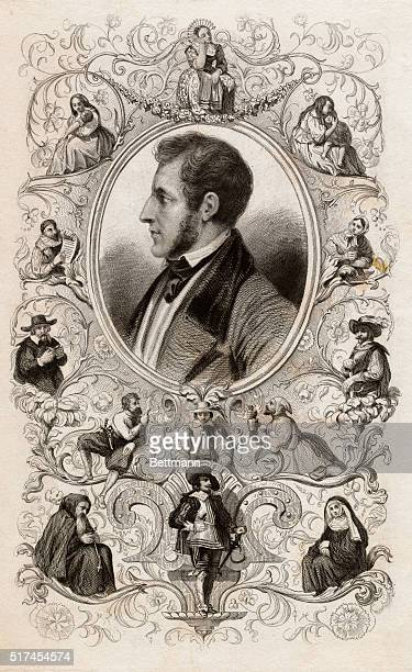 Portrait illustrations of Alessandro Manzoni Italian novelist and poet leader of Italian Romantic School Image depicts ovalframed profile portrait of...