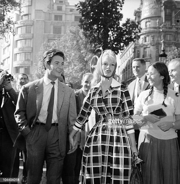 Portrait in 1959 of Brigitte BARDOT and her husband Jacques CHARRIER They were a famous couple because of the personality of the actress Here they...