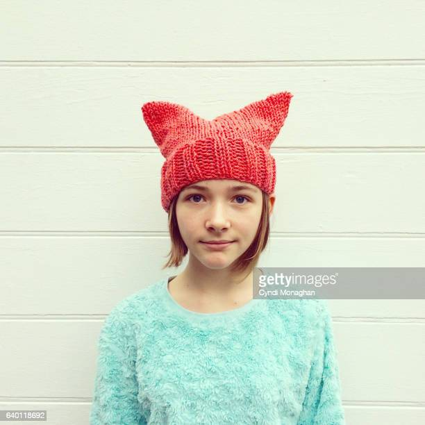 portrait in a pussy hat - pink hat stock pictures, royalty-free photos & images