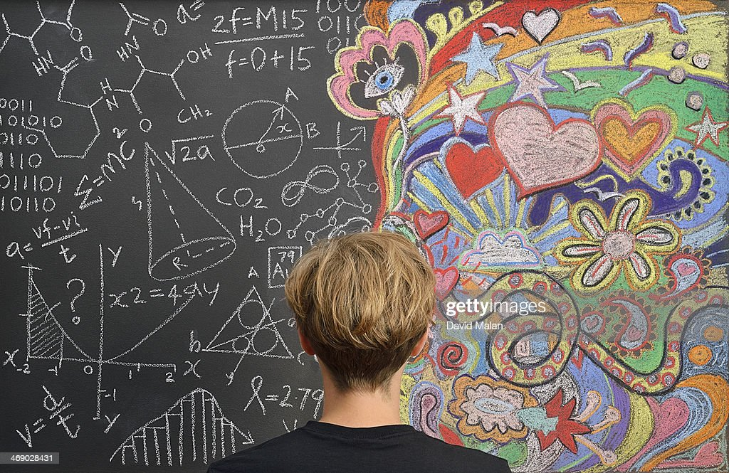 Portrait in front of doodles : Stock Photo
