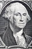 Portrait in macro of Washington's Face on a one dollar bill