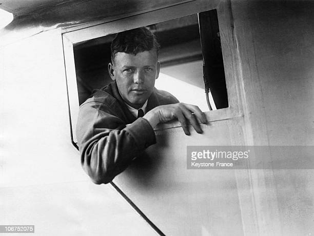 Portrait In May 1927 Of The American Aviator Charles Lindbergh At The Window Of The Spirit Of Saint Louis, The Monoplane Which He Designed And Which...