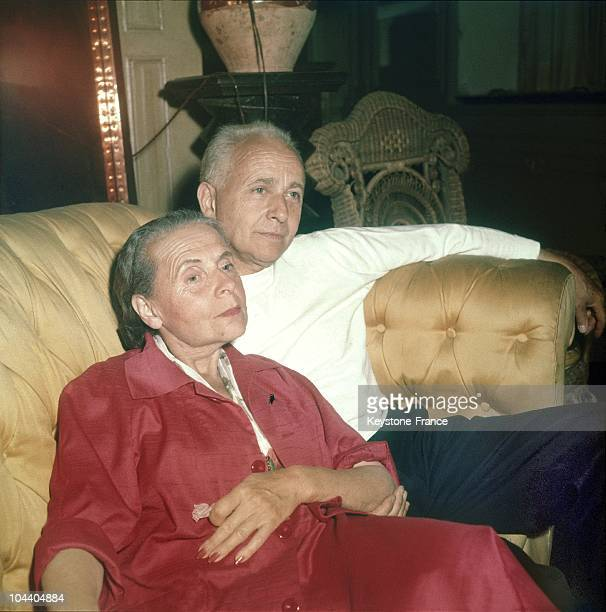 """Portrait in the 19604's of the French couple, the writers Louis ARAGON and Elsa TRIOLET. ARAGON, who was director of the publication """"LETTRES..."""